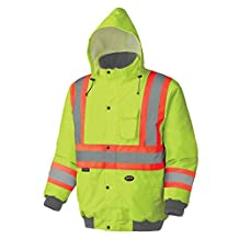 Pioneer V1150260-XL Winter Quilted Safety Bomber Jacket-Waterproof, Yellow-Green, XL