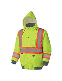 Pioneer V1150260-M Winter Quilted Safety Bomber Jacket-Waterproof, Green, Medium
