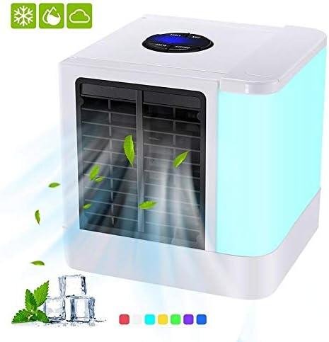 YUMUO Enfriador De Aire De Escritorio,Portátil Personal Acondicionador De Aire Evaporativo con 7 Colores De Luz Led,USB Powered Ventiladores del Hogar Blanco 14x14x14cm (6x6x6inch): Amazon.es: Hogar
