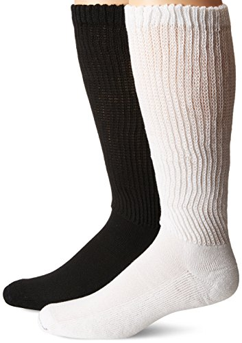 Price comparison product image Dr. Scholl's Men's D&c Advanced Relief Over the Calf 2 Pack Socks, Black/White, Sock Size: 10-13/Shoe Size:9-11
