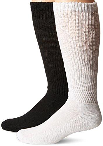 Dr. Scholl's Men's 2 Pack Non-Binding Diabetes and Circulatory Odor Resistant Crew Socks, Black/White, Shoe Size: 7-12
