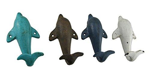 Zeckos 4 Piece Distressed Finish Cast Iron Dolphin Wall Hook Set