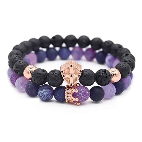 (Gemfeel 8mm Natural Purple Weathering Stone & Lava Rock Stone Cz Cross Shield/Crown Couple Bracelet Set,7.5