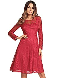 Ruiyige Women's Vintage See-through Lace Long Sleeve Cocktail Dresses