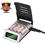 leapara BT - Power Battery Charger Digital 4 Slots LCD Battery Charger AA AAA NiMH NiCd Rechargeable Batteries (Battery NOT Included)