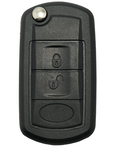 Key Fob Case for Land Rover Discovery LR3 Range Rover Sport Keyless Entry Remote Control Flip Folding Car Key Fob Shell 3 Buttons Replacement with Uncut Blade ()