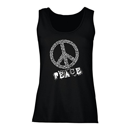 60s 70s Clothing - lepni.me Womens Tank Tops Do You Wanna Piece of Me - Peace Slogan, 60s 70s Hippy Hippie Festivals, Hipster Swag (Medium Black Multi Color)
