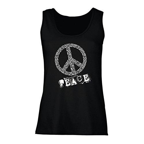 lepni.me Womens Tank Tops Do You Wanna Piece of Me - Peace Slogan, 60s 70s Hippy Hippie Festivals, Hipster Swag (Medium Black Multi Color)