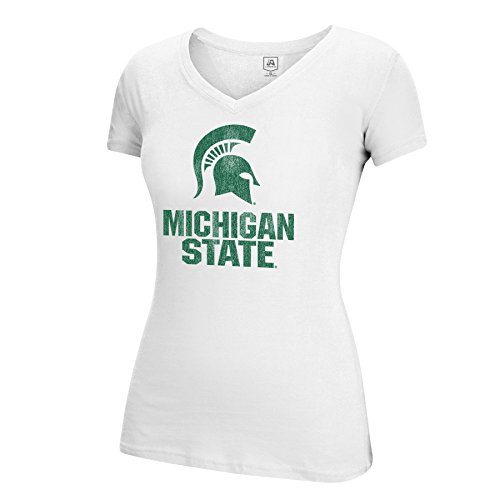Spartans State Michigan Mascot (J America NCAA Michigan State Spartans Women's Large Mascot Essential Tee, White, Small)