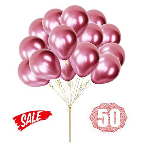 HoveBeaty Pink Balloons Chrome Shiny Metallic Latex 12