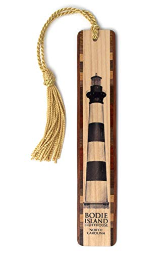 Bodie Island Lighthouse Artwork On Hand Made Wooden Bookmark with Tassel