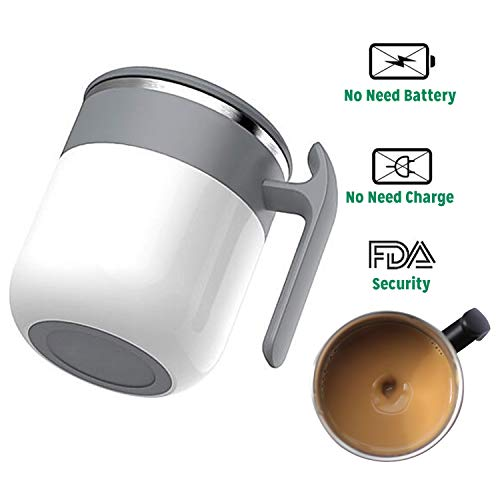 (REDQIN Newst Self Stirring Coffee Mug - No need Battery - Automatic mixing cup Stainless Steel Thermal drive for Stir Coffee Milk Juice tea hot chocolate protein shake etc (White))