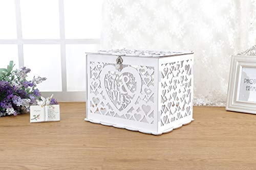 Artmag Wedding Money Box Holder with Sign, Large Rustic Wood Wooden DIY Envelop Gift Card Boxes with Lock Slot for Reception Anniversary Graduation Birthday Party Parties Baby Shower (Mr & Mrs, White)