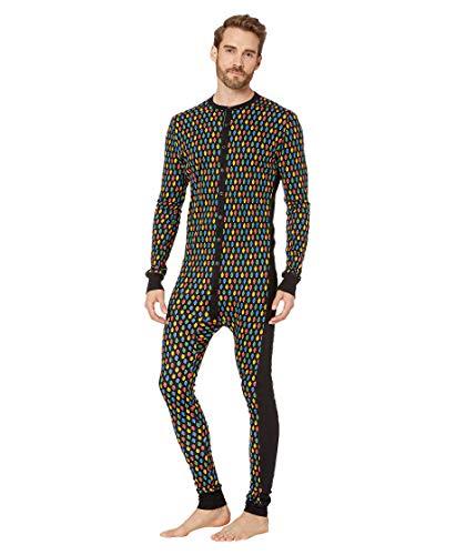2(X)IST Men's Essential Cotton Long Underwear Union Suit Onesie Underwear Underwear, Light Bulb Print/Black - 07510, Large