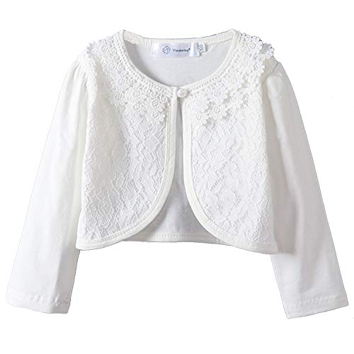 Girls Long Sleeve Cardigan Bolero Jacket Shrug Lace Cotton Shawl White Cardigan 2-3T (Cardigan Long Girls)