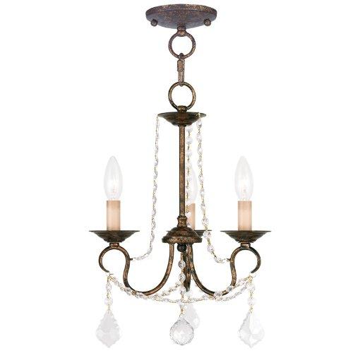 Livex Lighting 6513-71 Pennington 3 Light Convertible Chain Hang/Ceiling Mount, Hand Applied Venetian Golden Bronze [並行輸入品] B00E3ECIJ0  Venetian Golden Bronze