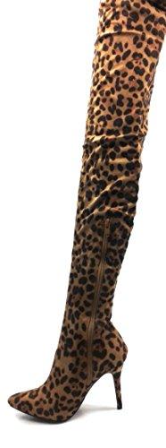 Bambu Kvinna Slappa Pekade Häl Stövlar Monet-23 Leopard