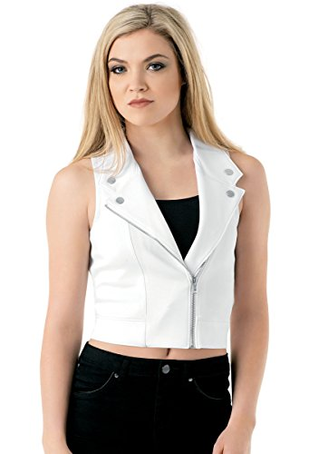 Balera Vest Girls Top For Dance Moto Zipper and Collar Motorcycle Vest White Adult Small from Balera