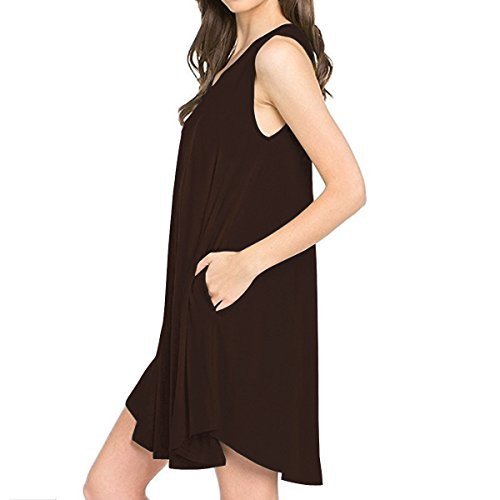 Shirt Chocolate TINYHI Fit V Casual Sb Neck Women's Simple Tunic T Swing Dress rrq7zf