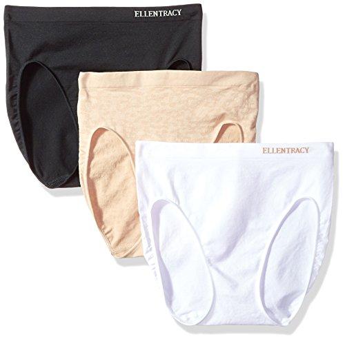 Ellen Tracy Women's 3 Pack Seamless Leopard Hi Cut Panty, Sun Beige, Black, White, Small