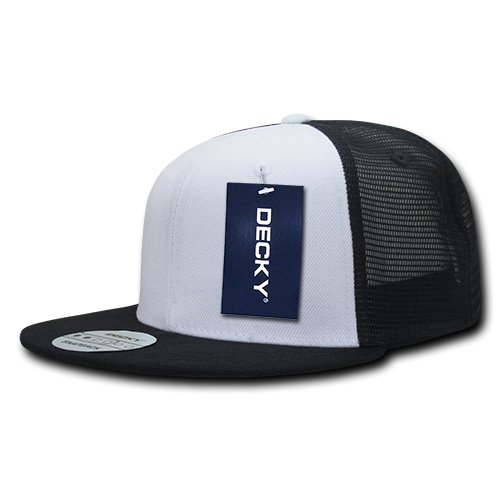 DECKY 6 Panel Flat Bill Trucker Caps, Black/White