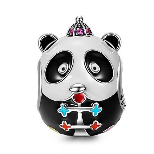 NINAQUEEN Panda 925 Sterling Silver Enamel Animal Bead Charms with 5A Cubic Zirconia Fit European Pandöra Bracelets, Birthday for Teen Girls Kids Daughter Her Women Wife Mom -