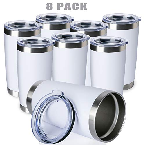 ONEB 20oz/8Pack Double Wall Vacuum Insulated Travel Mug, Stainless Steel Tumbler with Lid, Durable Powder Coated Insulated Coffee Cup for Cold & Hot Drinks (White, 8 Pack)