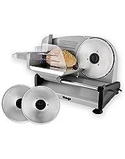 Venga! Universele elektrische allessnijder, roestvrij staal, 2 verwisselbare messen, tot 15 mm regeling van de snijdikte, 200 W, zilver, VG AS 3005