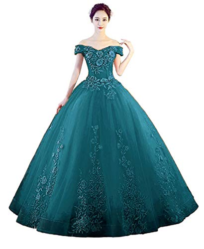 (LEJY Women's Off The Shoulder Quinceanera Dresses Applique Masquerade Ball Gowns Prom Dresses Teal A)