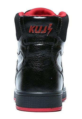 Soulsfeng Heren Hoge Sneakers Skateboarden Platte Leren Skate Lederen Casual Sneaker Zwart