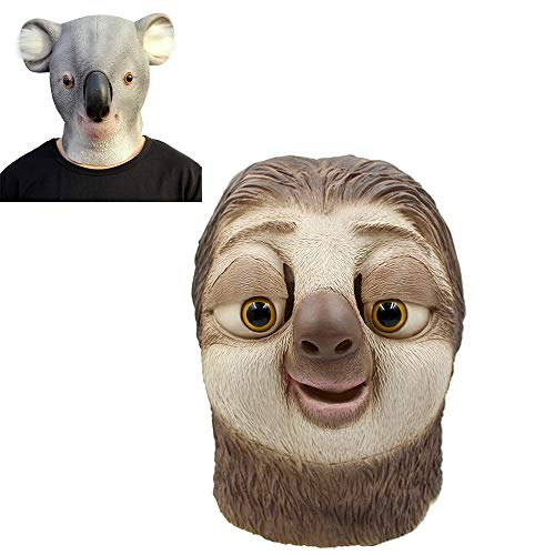 Cosplay Crazy Animal City Zootopia Sloth Koala Latex Mask Halloween Prom Party Costume Full Head Face Headgear Prop (Sloth)