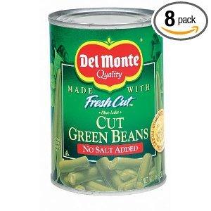 Del Monte No Salt Added Cut Green Beans 14.5 oz (Pack of 24)