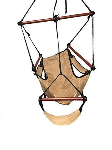 Ultra Comfort New Deluxe Beige Sky Air Chair Swing Hanging Hammock Chair W/  Pillow U0026