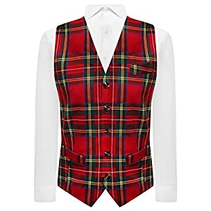 Traditional Red & Yellow Tartan Check Tailord Fit Waistcoat, Scottish, Stewart, Burns Night