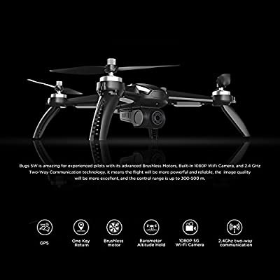 MJX Bugs 5W RC Quadcopter1080P 5G WiFi Camera Live Video 2.4GHz Remote Control Aircraft 6-Axis Gyro FPV Drone with GPS Return Home, Altitude Hold, Follow Me, 2 Battery from MJX