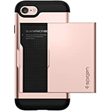 Spigen Slim Armor CS iPhone 7 Case/iPhone 8 Case with Slim Dual Layer Wallet Design and Card Slot Holder for Apple iPhone 7 (2016)/iPhone 8 (2017) - Rose Gold