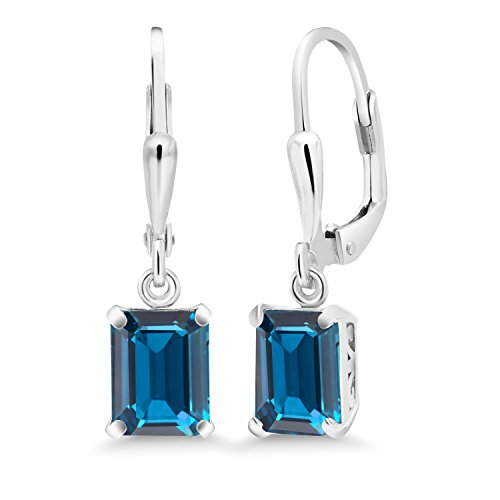 (Gem Stone King Sterling Silver London Blue Topaz Earrings 3.97 cttw Gemstone Birthstone Emerald Cut 8X6MM)