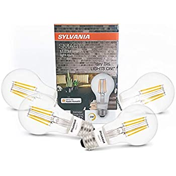 Sylvania 75580 Smart+ Bluetooth Enabled Soft White Filament A19 LED Bulb, Works with Apple HomeKit and Siri Voice Control, No Hub Required for Set Up, ...