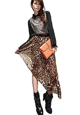 Women's Elastic Waist High Low Hem Asymmetric Chiffon Skirt