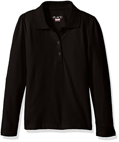 The Children's Place Girls' Little Uniform Long Sleeve Polo, Black 43864, Small/5/6 (Pre Friday)