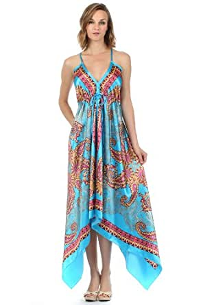 FOHandkerchiefP-908 Paisley Print Satin Pleated V-Neck Halter Handkerchief Hem Maxi / Long Dress (Turquoise, One Size)