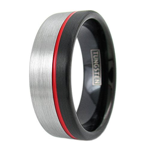 Sublime 3-Tone 8mm Black Tungsten Ring w/ Brushed Silver Band & Off-Center Red Enamel Stripe. (12) (Center Stripe Ring)