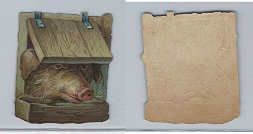 1890's Y95 Victorian Diecut, Animal Head, Pig, ZQL