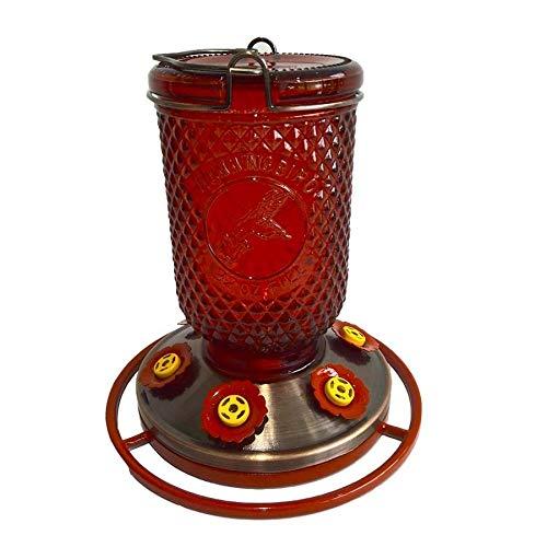GT (1) Garden Treasures 32oz Red Mason Jar Hummingbird Feeder