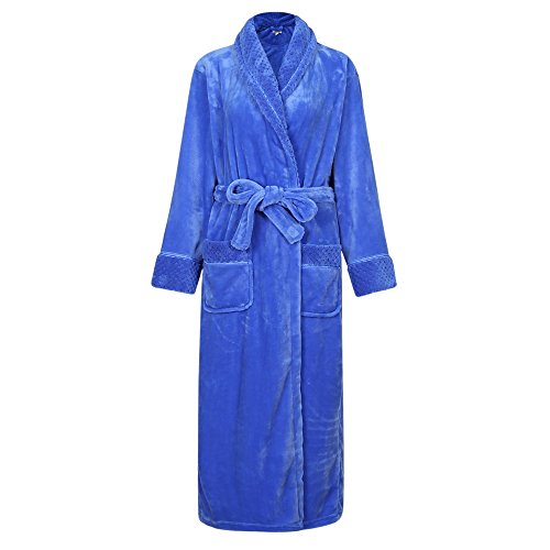 Richie House Women's Plush Soft Warm Fleece Bathrobe RH1591-G-XL Blue