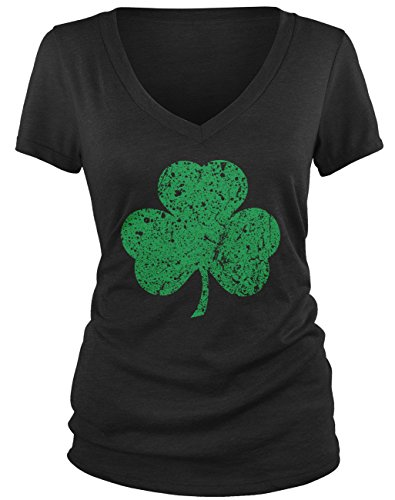 Claddagh Irish Pub - Amdesco Junior's Faded Shamrock, Lucky Clover St Patricks Day V-Neck T-Shirt, Black XL
