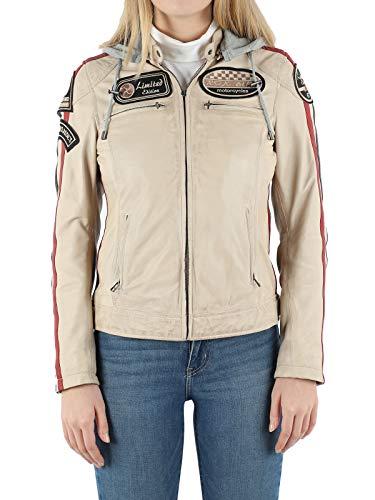ROXBIKE Lederjacke Damen mit Kapuze, Motorradjacke Damen aus Leder mit Protektoren, Bikerjacke Damen aus Echtleder…