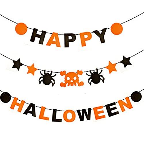 Happy Halloween Banner, Cute Halloween Decorations with Spiders, Stars Hanging on Halloween Wall Decorations Kids Halloween Party Decor Home Inside Kitchen, Front Door …