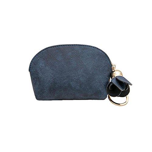 Creazy Women Leather Small Mini Wallet Holder Zip Coin Purse Clutch Handbag (Blue)