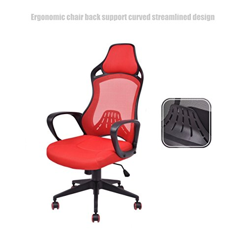 Executive High Back Race Car Style Chair Mesh Seats Soft Sponge Upholstery 360 Degree Swivel Home Office Gaming Desk Task - Red # - Las Deals Vegas Shopping